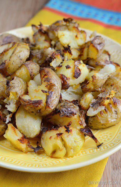 Slimming Eats Crushed Roast Potatoes - gluten free, dairy free, paleo, vegetarian, Slimming World and Weight Watchers friendly