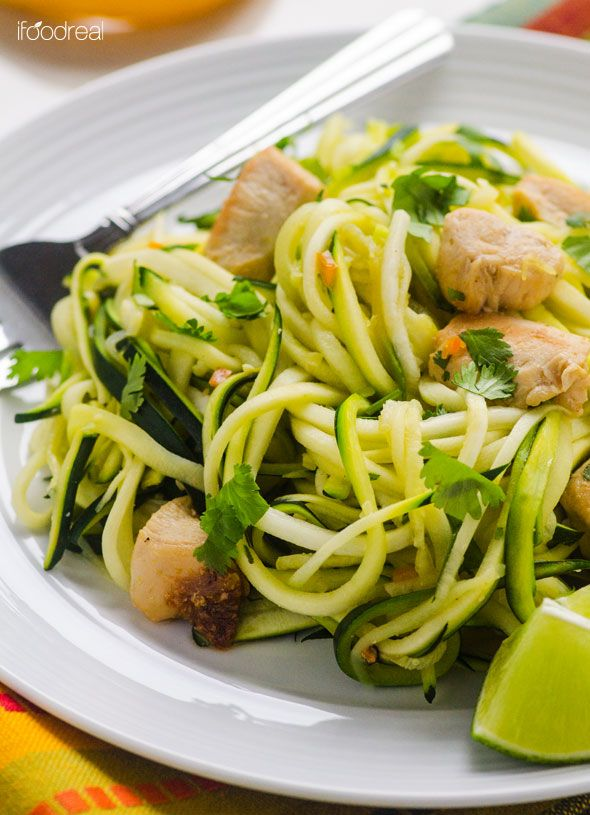 Zucchini Noodles with Cilantro Lime Chicken | I Food Real