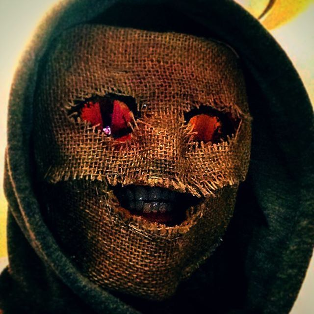 """Mask 01 """"farm creep"""" This mask was supposed to be used for 2015's hollowen event but it's alright.. #burlap #mask #creep #creepy #farm #hoodie #hood #scary #redeyes #killer #holloween #holloween2015 #holloweencostume #costume #photography #instagramedit #selfie #face #2015"""