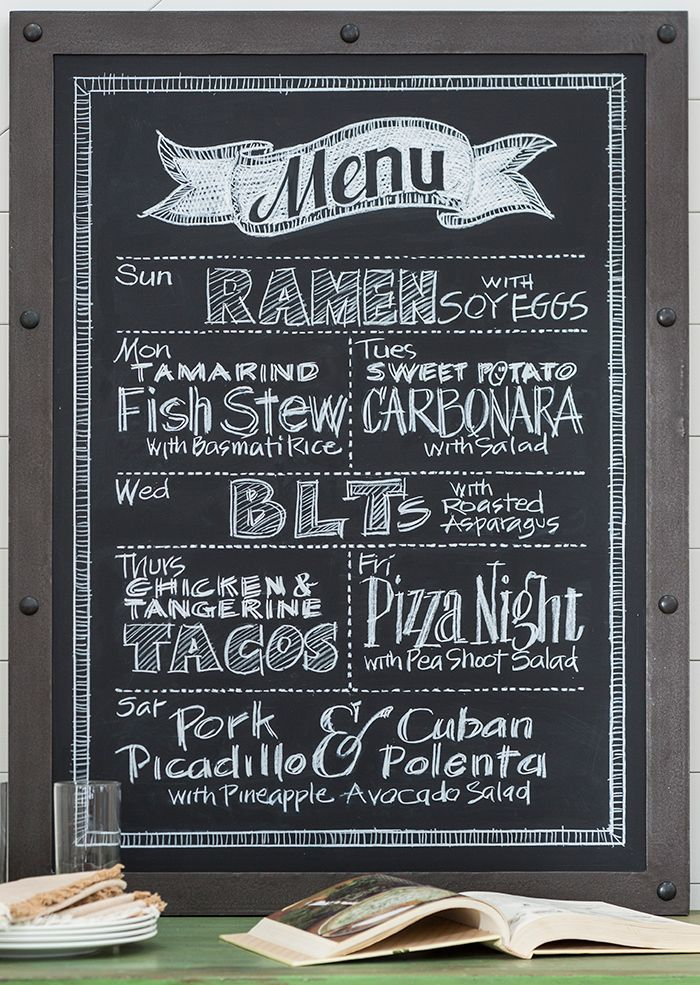 DIY Blackboard Menu—the stylish way to meal plan. | Hanging a chalkboard in your kitchen or pantry might be all it takes to help you get your menu-planning and grocery shopping on track to eat healthy and save money.