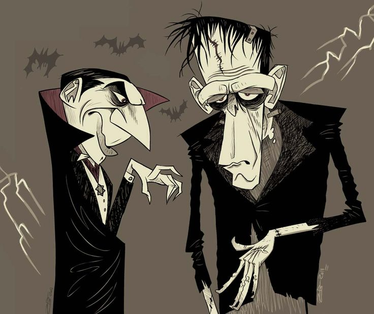 Lugosi and Karloff as Dracula and Frankenstein's Monster by Zach Bellissimo.
