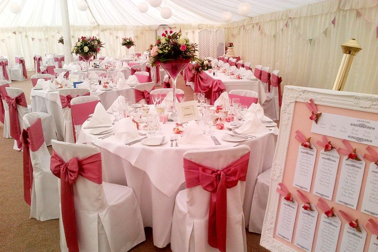 A cake-themed table layout in the marquee at Prested Hall http://www.prested.co.uk/weddings/