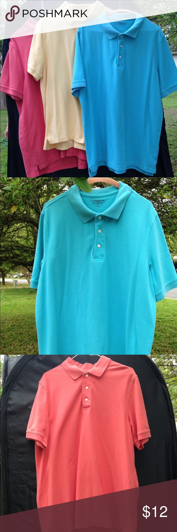 MEN'S POLO SHIRT BUNDLE LARGE Turquoise, yellow and coral colors. Used. Has minor staining on the front of turquoise. Two by Croft & Barrow, one by Sonoma. All size Large. Shirts Polos