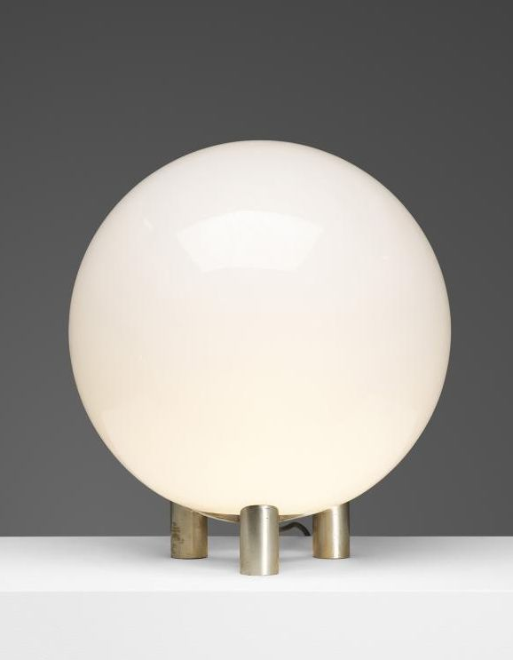 Roberto Menghi; Nickel-Plated Brass and Glass Table Lamp for Venini, 1968.