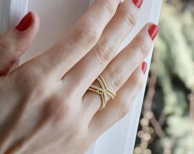 X-Ring - Double X-Ring - Criss Cross - dubbele Criss Cross Ring - Ring goud X Ring - Gouden Ring - de Ring - Ring - Mother's Day verjaardagsgift