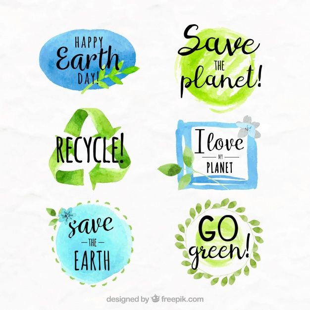 Pack of watercolor earth day stickers Free Vector