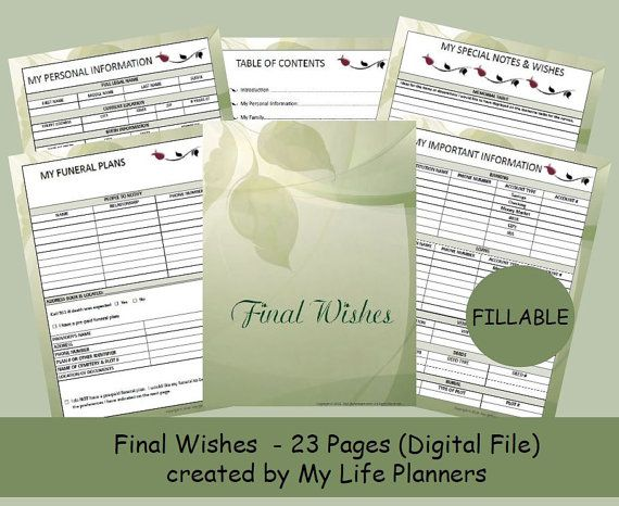 Final Wishes Planner, Funeral Planner,  Burial Arrangements, Remembrance Kit, Letter size 8.5 x 11, Fillable, Printable, PDF
