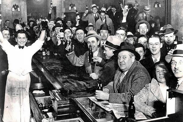 U.S. Citizens in a bar celebrate the end of alcohol prohibition in the United States. December 5, 1933.