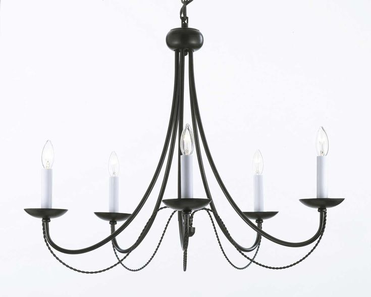 Wrought Iron Chandelier Lighting H22 X W26 With Swag Plug In