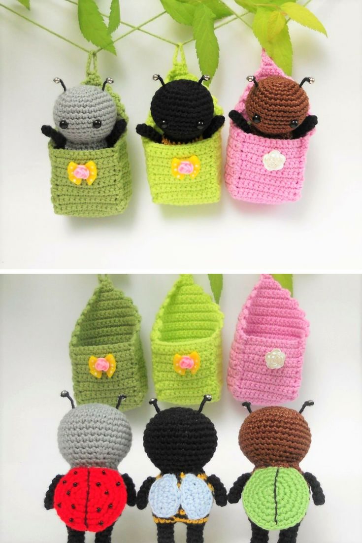 Little amigurumi bugs in cradles