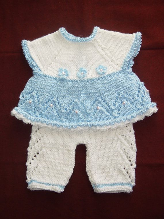 Hand Knitted Embellished Dress and Pants for baby in by Andrateya, $30.00