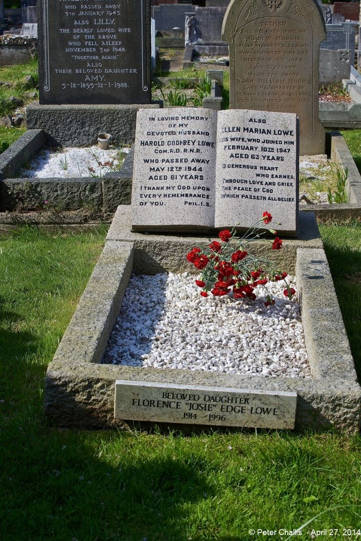 The Grave of Commander Harold Godfrey Lowe (Fifth Officer of RMS Titanic at Rhos On Sea), his Wife Ellen and his daughter Josie.