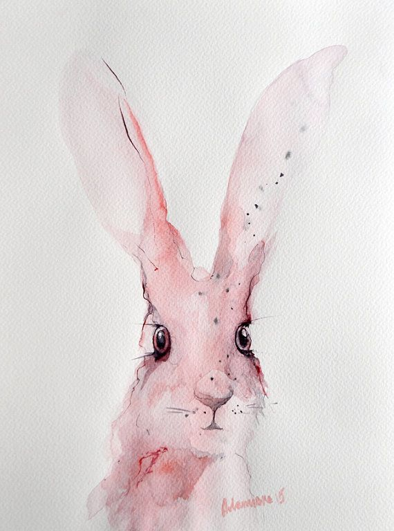 Pink bunny - nursery art - original watercolor painting. Unique gift, rabbit watercolour sketch. Hare picture. Jackrabbit drawing. Rabbit