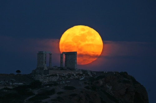Full moon at Cape Sounion (March 8, 2012)  photo by Chris Kotsiopoulos