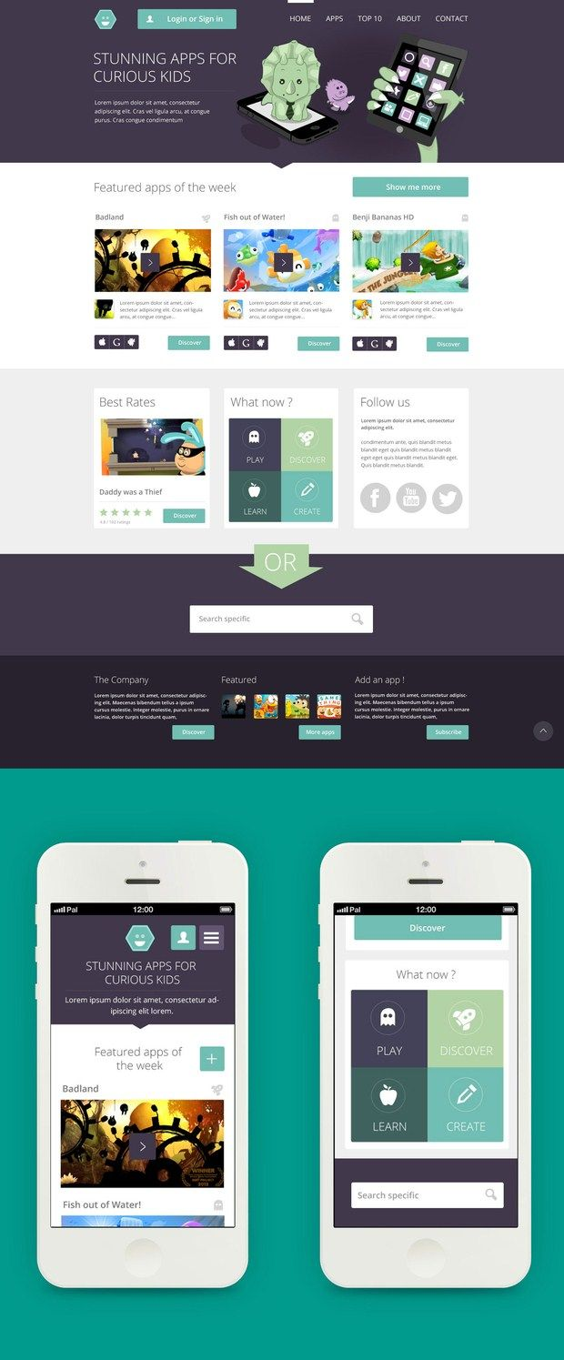 beautiful flat design. eggplant, teal and sage.