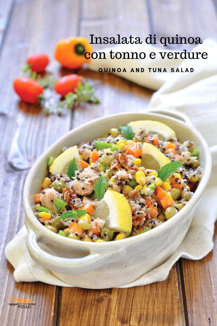 Ricetta Quinoa Con Tonno E Verdure.Insalata Di Quinoa Con Tonno E Verdure Pelle Di Pollo Ricetta Ricette Insalata Di Quinoa Idee Alimentari