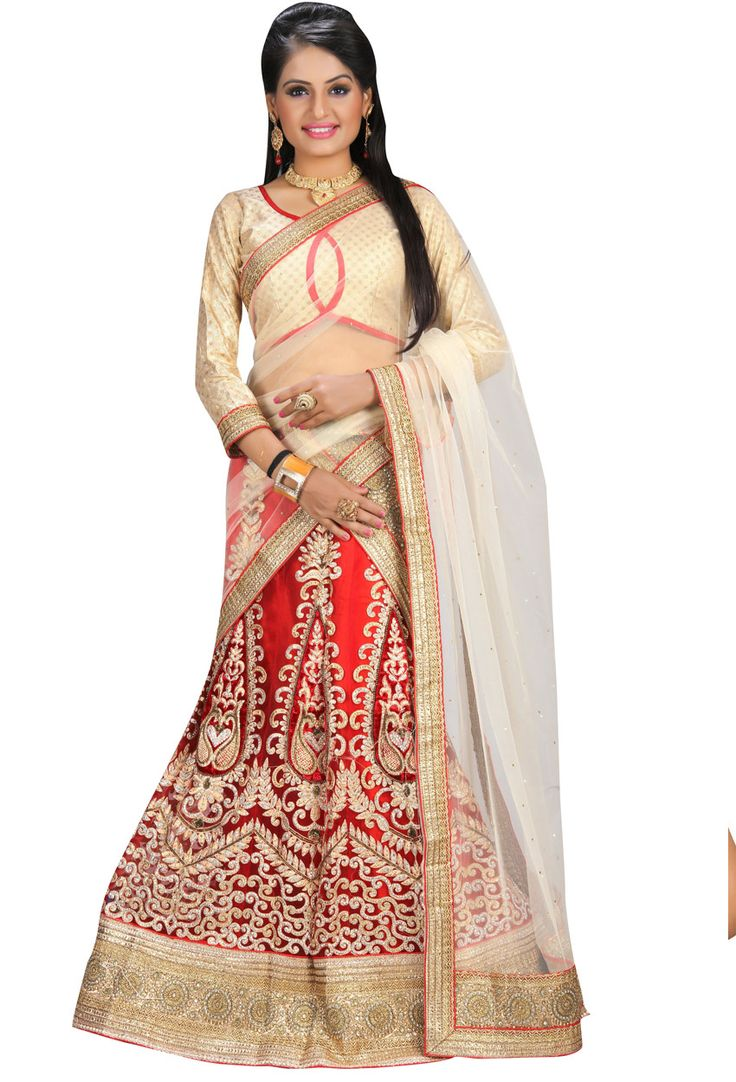 Red,Beige #Net And Art #Silk #Circular #Lehenga #Choli #nikvik  #usa #designer #australia #canada #freeshipping #fashion #dress #dress #sale