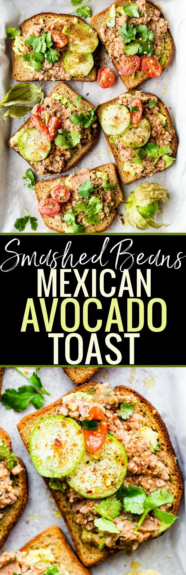 Gluten Free Smashed Mexican Beans Avocado Toast recipe! A heartier yet Healthy take on Avocado Toast Recipes. This Fully Loaded MEXICAN style avocado toast is Vegan Friendly and loaded with Flavor!! A simple, yet spicy, meatless meal, breakfast, or even a quick appetizer.