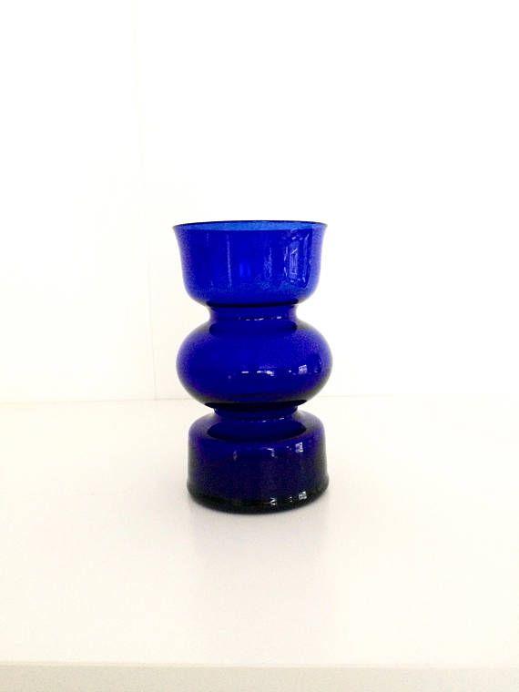 Vintage Scandinavian Hooped Cobalt Blue Glass Vase Norwegian