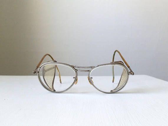 Vintage Safety Glasses . Industrial Eye Glasses . Side