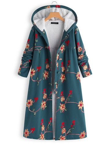 Embroidered Hooded Thick Long Sleeve Vintage Coat