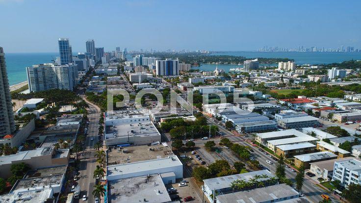Drone aerial miami beach harding avenue stock footage