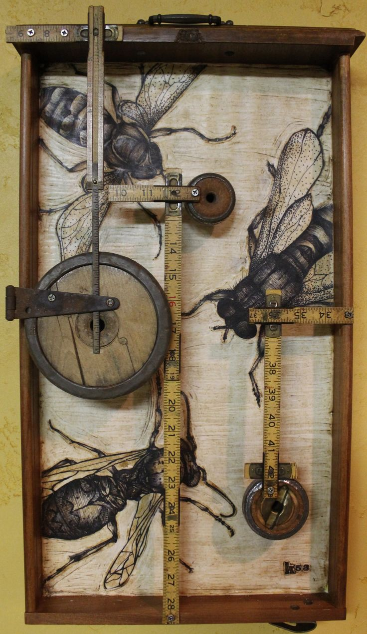 """Home Builders Association"" by Kathy Moore, a Bee assemblage from her Junk Drawer Series #3"