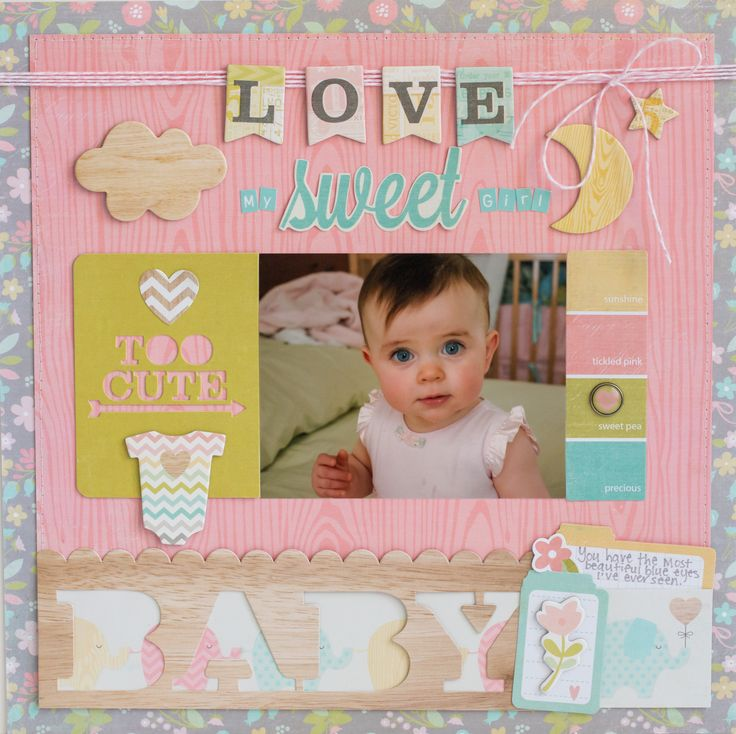 Love - Scrapbook.com - use die cuts, twine and embellishments to give your simple baby layout beautiful and personal touches.