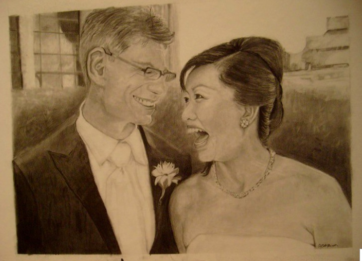 Bob and Christine's wedding day-the adoring smile.  Original drawing by Tammy Anne Gelfand.  Copyright (c) 2009-2102.  All Rights Reserved.