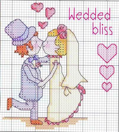 matrimonio - bacio - punto croce - cross Stitch - Kreuzstich - Punto de Cruz
