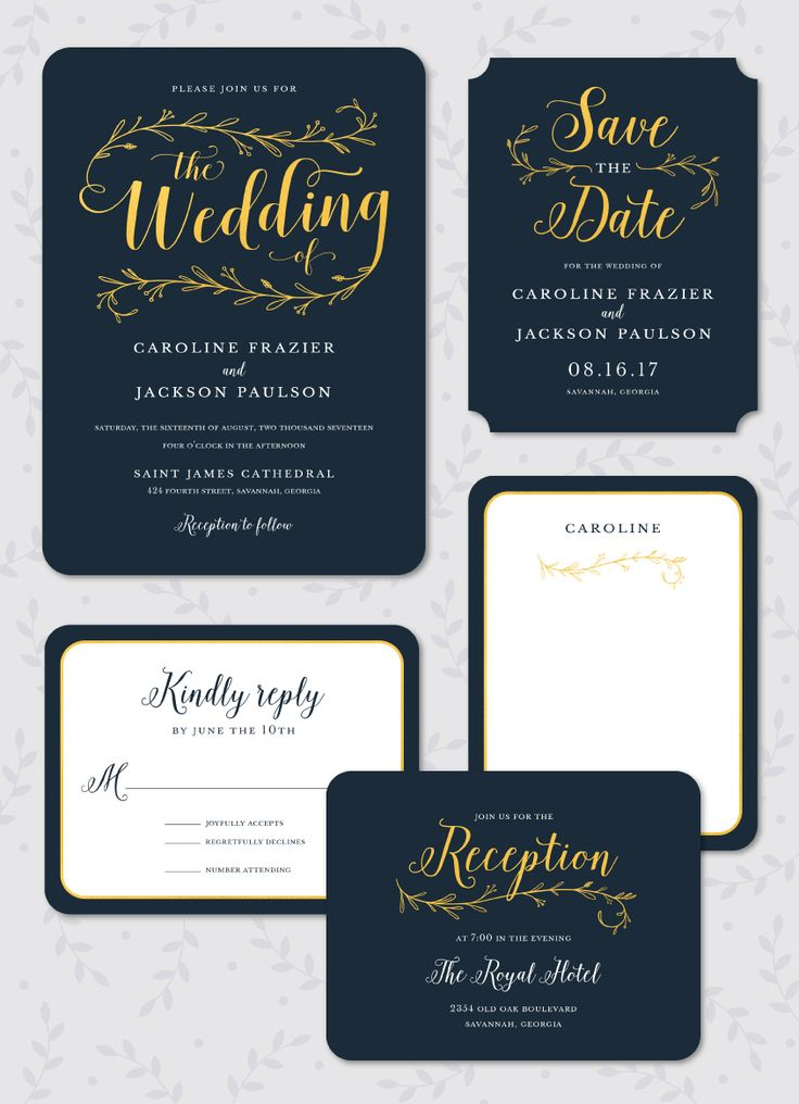 Wedding Day Foil Pressed Invitation Suite: Invitation, Save the Date, Reply Card, Reception Card and Flat Note by Stacy Claire Boyd. Foil Available in Gold, Rose Gold, Silver, Copper and Red.