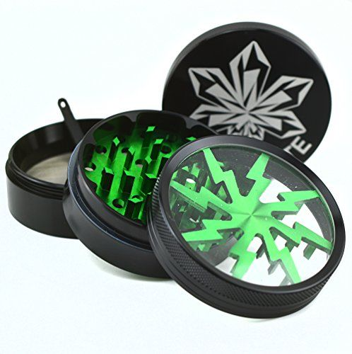 "Kryptonite Grinders - Large Herb Tobacco Spice Weed Grinder - Four Piece Clear Top with Pollen Catcher - Lightning Grinder - Premium Grade Aluminum (2.5"", Black) (Envy (Green)) >>> Details can be found by clicking on the image."