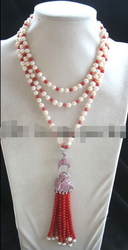 """Free shipping   0002023 freshwater pearl &coral round red leopard clasp necklace 60"""""""