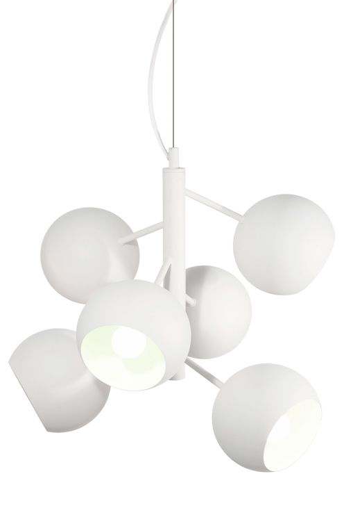 """med 6 separat trælignende arme i pulverlakeret metal. Hvidt stofkabel med wire. Diameter 45 cm. Højde 45 cm. Fatning E14. Maks. 6 x 40W. <br><br>OBS! Nogle loftlamper/pendler leveres med svensk """"loftstik""""som ikke kan benyttes i Danmark. Stikket klippes af og ledningen tilsluttes direkte i roset (lampeudtag) eller monteres med lampestikprop. Alle vores lamper er CE-godkendte. <br><br>"""