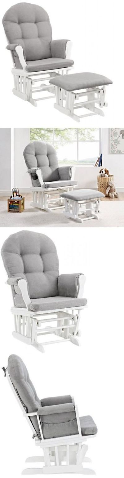 Baby Nursery: Glider Ottoman Furniture Nursery Chair Baby Rocking Set White With Gray Cushion BUY IT NOW ONLY: $149.99