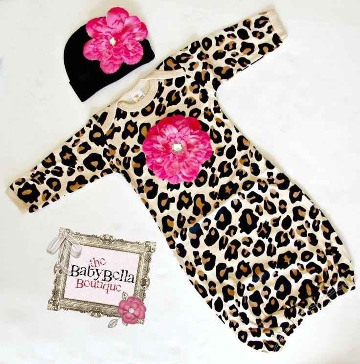Boutique Baby leopard print  Layette  hot  door TheBabyBellaBoutique, $29,50