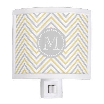 Monogram Chevron Gray And Gold Modern Night Light - monogram gifts unique design style monogrammed diy cyo customize