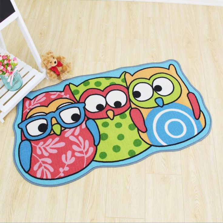Cute Owl And Panda Mat  Entry Foot Long Pad Soft Machine Washable Rectangle Living Room Bedside Anti-slip Big Baby Mats