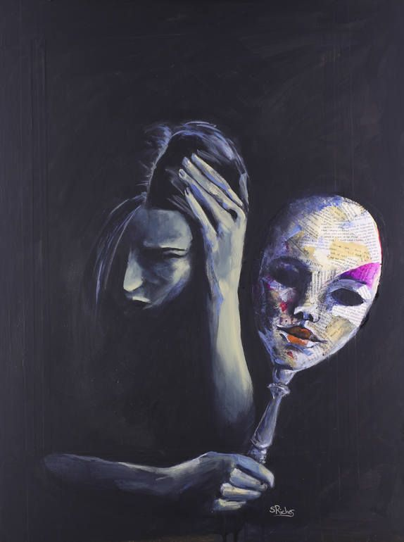The Mask She Hides Behind Painting by Sara Riches