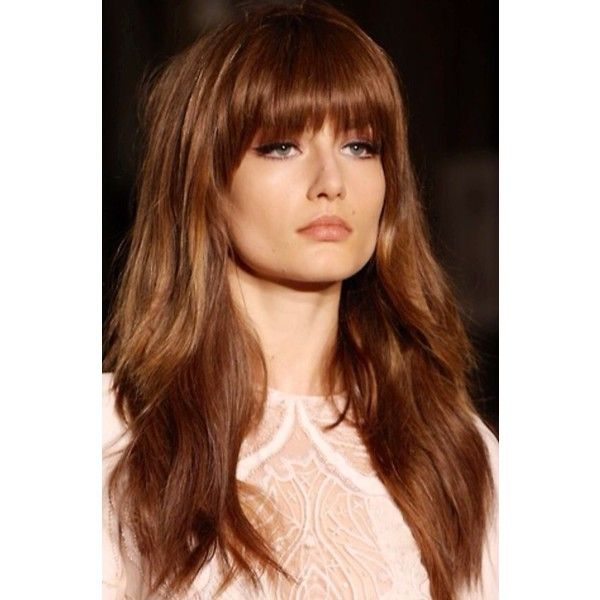 12 Pretty Long Layered Hairstyles With Bangs ❤ liked on Polyvore featuring beauty products