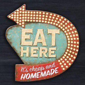 Eat Here Sign | Retro Tin Signs | Tin Wall Art