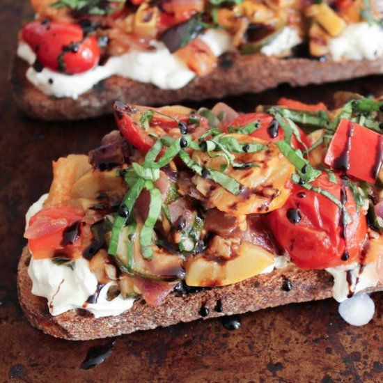 Summer Ratatouille Tartines with Burrata and Honey-Balsamic Drizzle ...