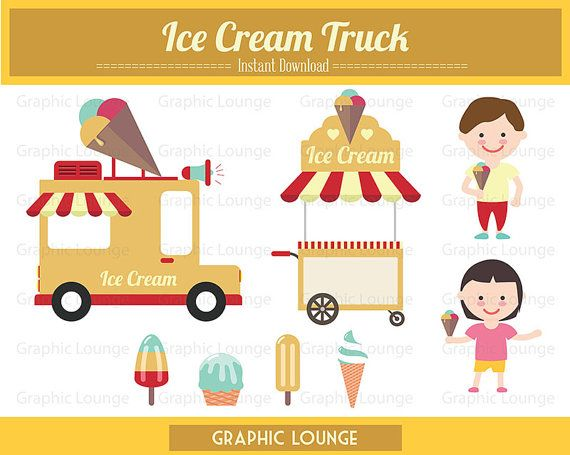 Ice Cream Truck Clipart. Vector Ice Cream. Truck. 300 dpi. Eps, Png files. Instant Download.
