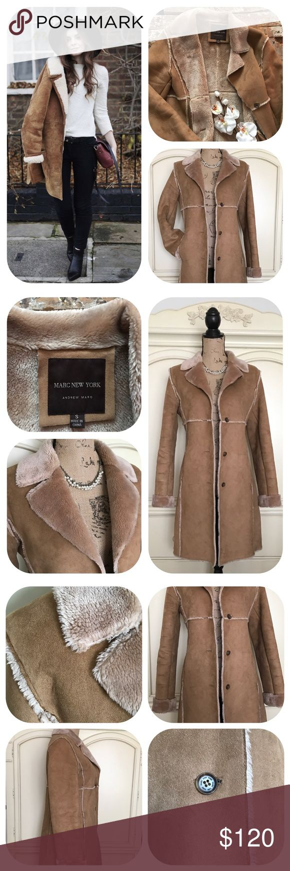 Andrew Marc New York Faux Shearling Coat A beautiful, super soft & warm faux shearling long coat by Andrew Marc (Marc New York). On trend this season, long sleeves, two side pockets, clean & in good condition. Gently used a couple of times. Perfect for this cold season! Feels like soft suede & fur but it's 100% polyester (Model pic with similar coat for styling purposes only) Size Small No holds/trades No transactions outside Poshmark No lowball offers, open to reasonable ones Please use…