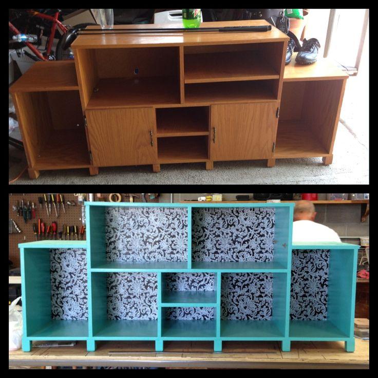 DIY entertainment center/bookshelf PERFECT for Ella's nook