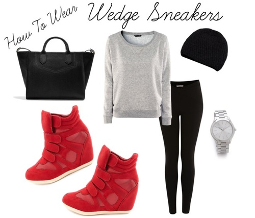 "How To Wear: Wedge Sneakers  I've been on the fence all winter about this trend. It's definitely one of those ""Love it on others. Not sure about me."" However I've made the decision to go ahead and do it! So, how do you pull off the wedge sneaker look in everyday life. To me, this trend is perfect for the weekend casual ensemble. Pair it with leggings, a sweatshirt, beanie, and tote. Keep it street chic!"