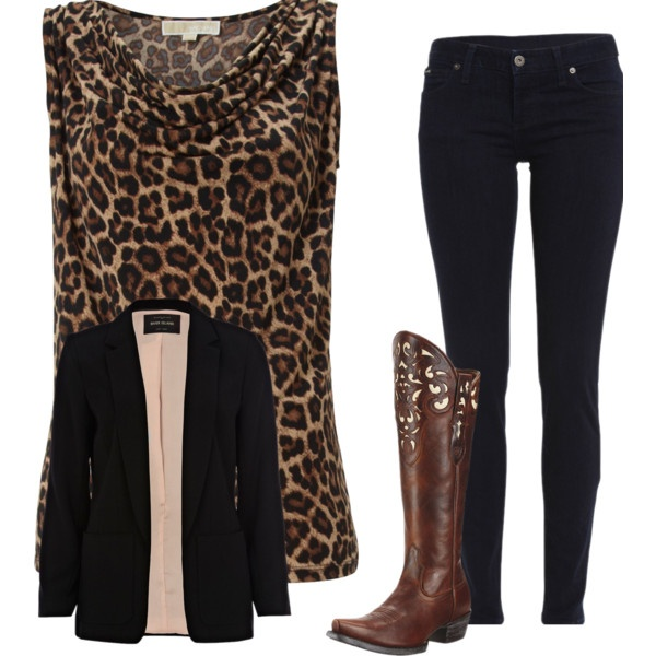 """""""Leopard Meets Langston"""" by jade-currid on Polyvore  Outfit I created with Polyvore  clothing and Langston's Western Wear Tall Boots-Langstons.com"""