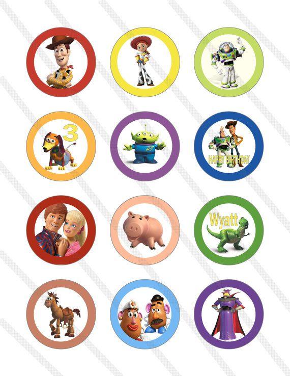 Disney Pixar Toy Story Custom Birthday Party 2 Inch Cupcake Toppers Digital Printables Favor Circles