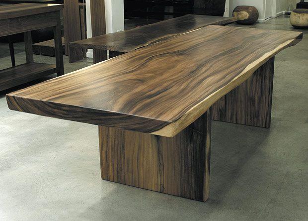 "Hudson - SOLID ACACIA TABLE solid acacia slab 120"" L x 32"" D x 30"" H"