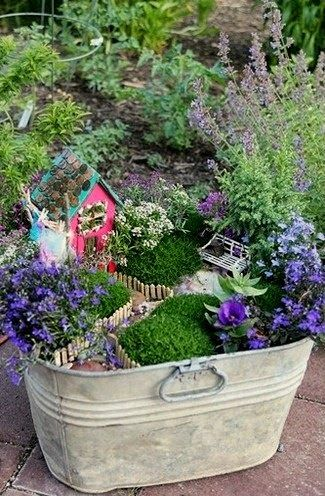 Dishfunctional Designs: Fairy Gardens Made From Broken Flower Pots With DIY